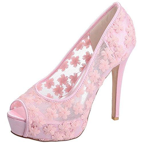 Da Delle Piattaforma Toe Donne Pizzo Pompe Nascosta Alti In Bangfox Wedding Rosa Scarpe Trovano Sposa Peep Che q1TwEO