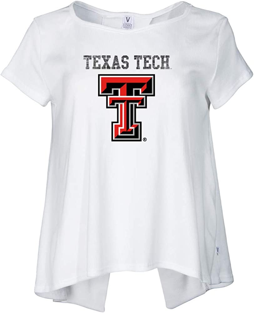 Natural Large Venley Official NCAA Texas Tech University Red Raiders Womens Short Sleeve Open Back 01AMAA16