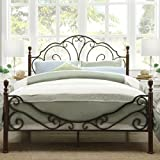 Iron Poster Bed Queen Size Elegant Sleigh Style