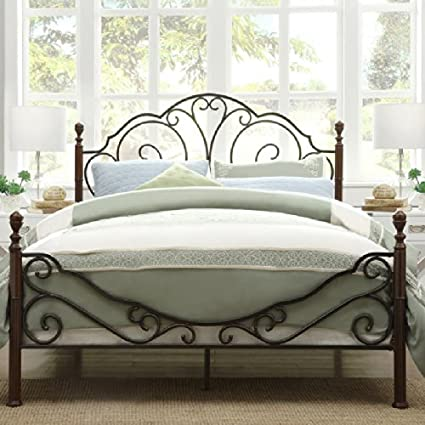 Amazon Com Iron Poster Bed Queen Size Elegant Sleigh Style Posters