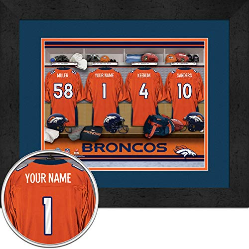 Denver Broncos Team Locker Room Personalized Jersey Officially Licensed NFL Sports Photo 11 x 14 - Locker Broncos Denver Nfl Room