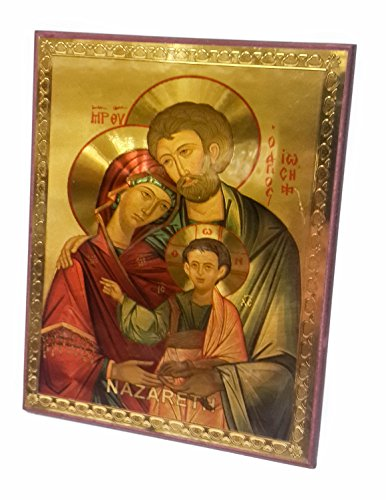 (The Holy Family Russian Wood Jesus Icon Plaque Blessed Jerusalem Souvenir 5.7