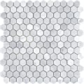 """Bianco White Carrara Hexagon 1"""" Mosaic POLISHED by Marbleville"""