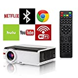 HDMI Bluetooth WiFi LCD Projector Outdoor Backyard Movie Proyector 4200 Lumen Support Wuxga 1080P, Android OS Wireless HDMI for iPhone Airplay Apps Laptop Game Consoles DVD Player Home Theater
