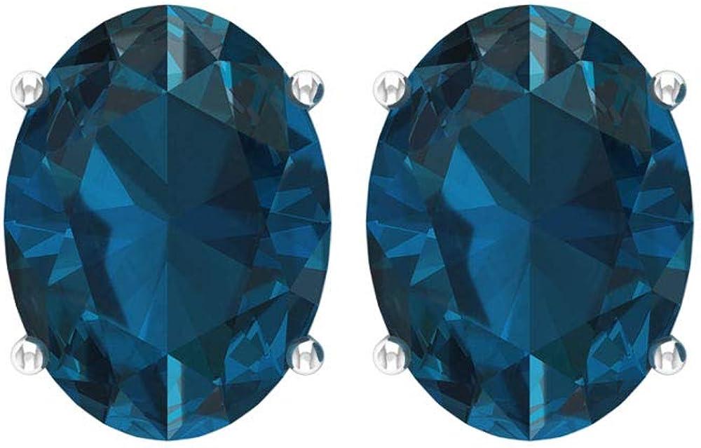 Aretes de solitario con topacio azul de Londres, certificado de 3,2 quilates forma ovalada, pendientes de boda únicos, pendientes de fiesta, tornillo hacia atrás