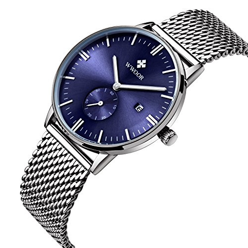 WWOOR Men's Luxury Stainless Steel Mesh Band Watch with Date Male Casual Sport Wrist Watches - Watch Luxury Steel