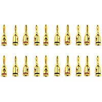XLX 10 Pairs Open Screw Banana Plugs Connectors for Speaker Cable ( Alloy and 24K Gold Plated)