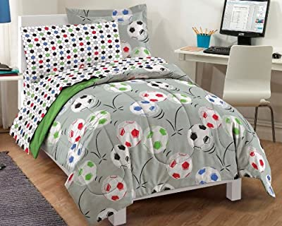 Soccer Ultra Soft Microfiber Comforter Bedding Set, Gray Multi