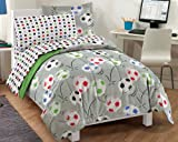 dream FACTORY Soccer Ultra Soft Microfiber Comforter Set, Multi-Colored, Twin