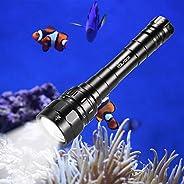 Scuba Diving Flashlight, VOLADOR DF30 3100lm Professional Diving Light, Rechargeable Underwater Flashlight Wat