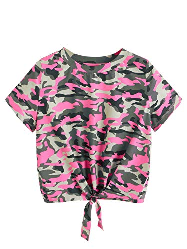 (SweatyRocks Women's Loose Short Sleeve Summer Crop T-Shirt Tops Blouse Camo #6 XS)