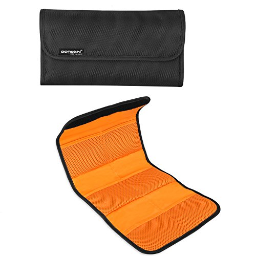 pangshi Camera Lens Filter Pouch Wallet Case Holder 6 Pocket Folding Padded Protective Carry Bag for 25mm to 86mm Round /Square Lens Filters