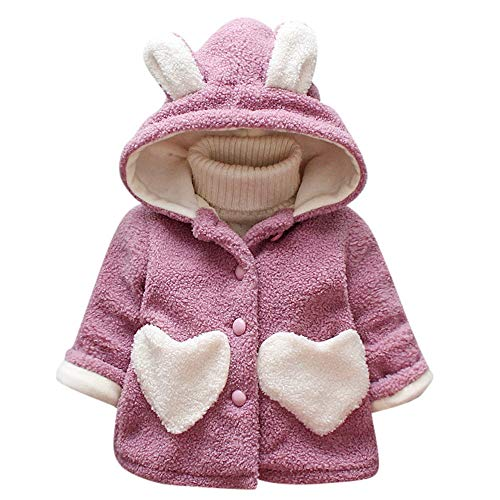 (Winter Girls Cute Coat Baby Kids Outerwear Ear Heart Print Warm Thick Hooded Clothes (6-12 Months, Purple))