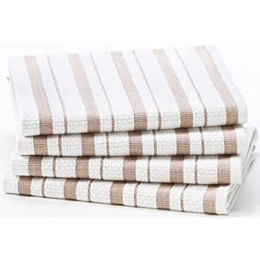 Cotton Craft - 4 Pack Oversized Kitchen Towels, 20x30 - Linen, Pure 100% Cotton, Crisp Basket weave striped pattern, Convenient hanging loop - Highly absorbent, Professional Grade, Soft yet Sturdy