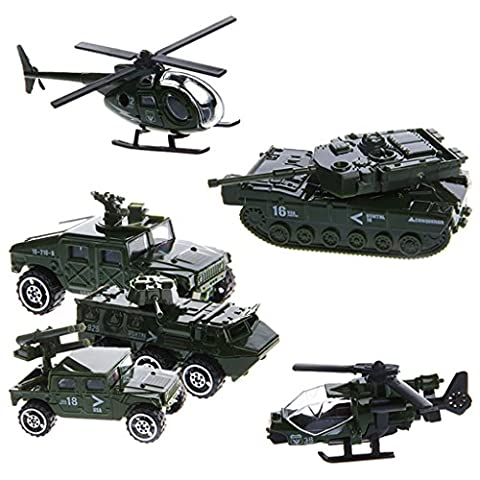 ChangeYOu 1:87 Scale 6Pcs Car Military Engineering Aircraft Vehicle Kid Toy Model (#1) (Military Vehicles 1 18)