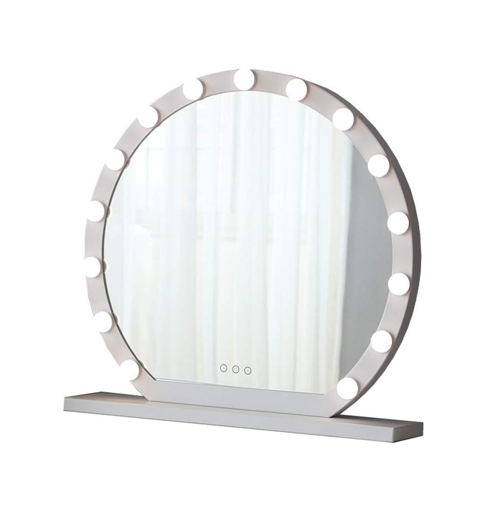 JIANPING Round Vanity Mirror with LED Light Kit | Hollywood Style Vanity Mirror LED Light with 10/12/15 Dimmable Light Bulb Cosmetic Dressing Table (White) Wall Mirror (Size : Diameter 60cm)