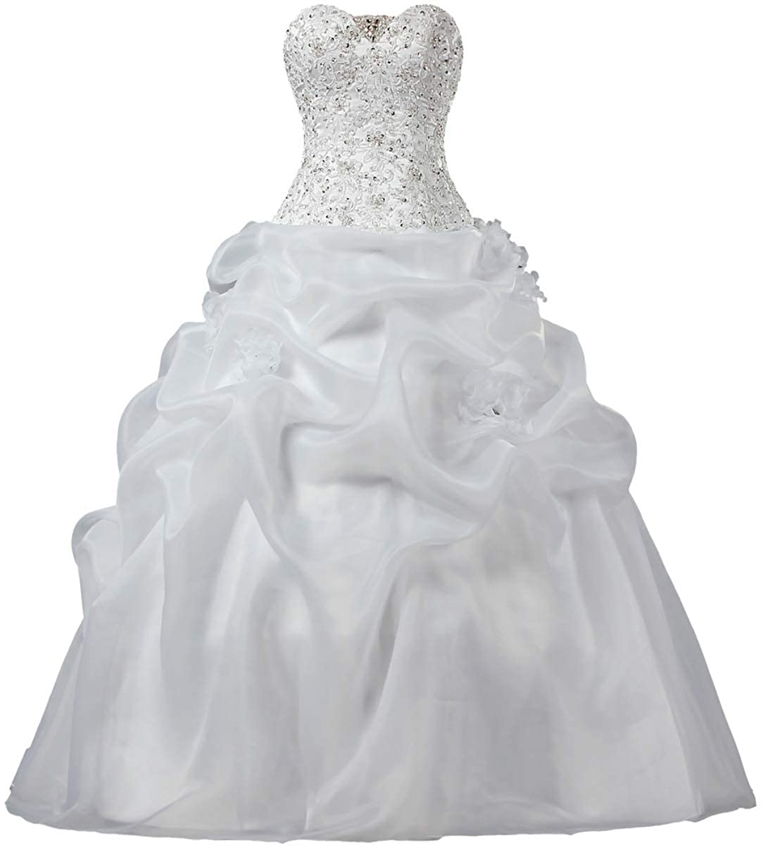 White ANTS Women's Strapless Organza Lace Ball Gown Wedding Dress for Bride