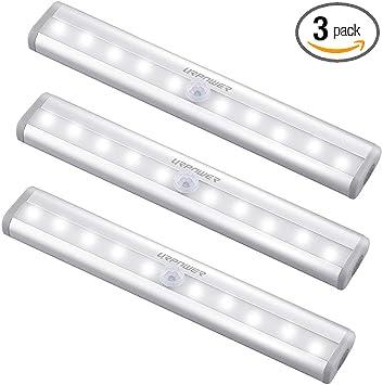 10 LED Cordless Battery Powered LED Night Light Motion PIR Sensor Closet Lamp