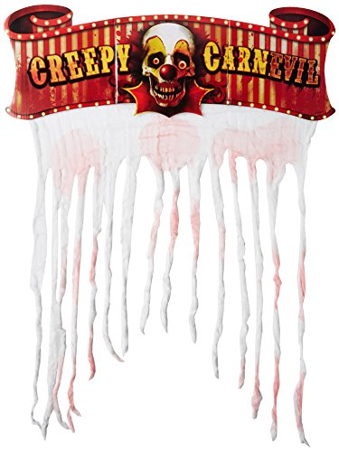 Creepy Carnival Doorway Curtain | Cardboard Sign w/Gauze -