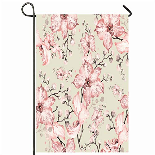 - Ahawoso Outdoor Garden Flag 12x18 Inches Leaf Petal Watercolor Pattern Orchids Buds 9 Elegance Blossom Abstract Pink Botanical Bouquet Chic Seasonal Double Sides Home Decorative House Yard Sign
