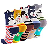 SockStory Happy Colorful Cute SOCKS for Girls, 5 Rich Cotton Dogs designs 1 Gift Box