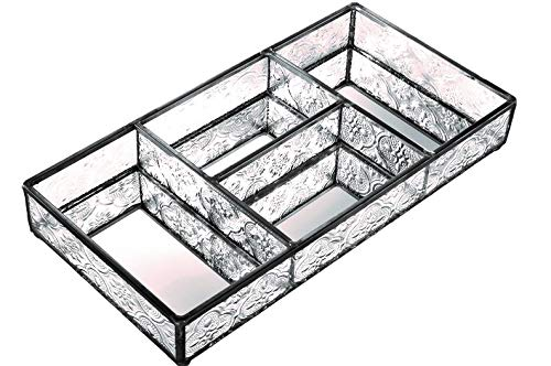 J Devlin Tra 107-1 Clear Vintage Glass Jewelry Tray With Dividers Mirrored Vanity Tray Cosmetic Organizer Dresser