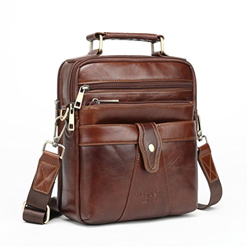 Langzu Men's Genuine Leather Messenger Shoulder Bag Handbag Laptop iPad Briefcase (brown-6013)