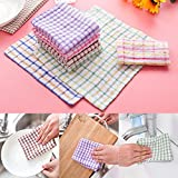 LiPing Microfiber Dish Cloth Kitchen Cloths Cleaning Cloths,9.35 x 9.35,Machine Washable and Ultra Absorbent Kitchen Bar Towels