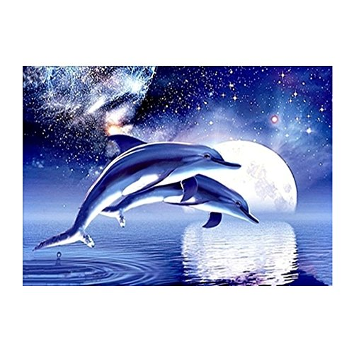 Blxecky 5D DIY Diamond Painting ,By Number Kits Crafts & Sewing Cross Stitch,Wall stickers for living room decoration,dolphin(35X40CM/14X16inch) (Color Dolphins)