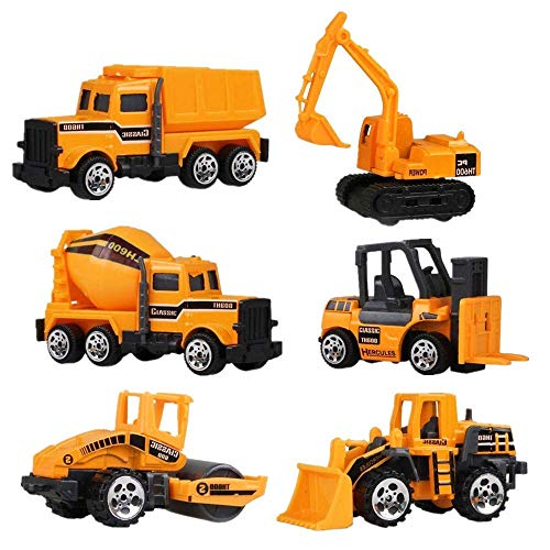 HLang Construction Toys Sets, 6 PCS Mini Metal Construction Vehicle Truck Series Kids Learning, Early Development Push Inertia Toy Engineering Car
