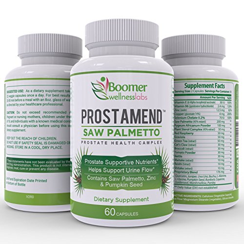 Saw Palmetto Prostate Health Supplement. Natural Formula with Premium Plant Extracts & Herbs that may Support Healthy Urinary Function and Reduced Hair Loss. Free E-Book. 60 Capsules of Prostamend - Premium Prostate Support Formula