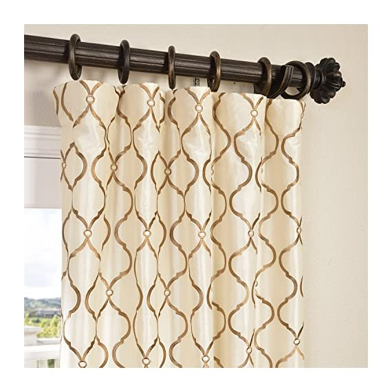"HPD Half Price Drapes EFSCH-14081B-96 Designer Embroidered Curtain (1 Panel), 50 X 96, Tunisia Ivory - Sold Per Panel 51% Polyester 49% Nylon | Lined & Interlined 3"" Pole Pocket with Hook Belt - living-room-soft-furnishings, living-room, draperies-curtains-shades - 51AeXRKMZ6L. SS570  -"