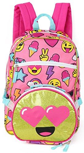 Trailmaker Emoji Backpack with Lunch Bag (Pink Emoji, One Size)