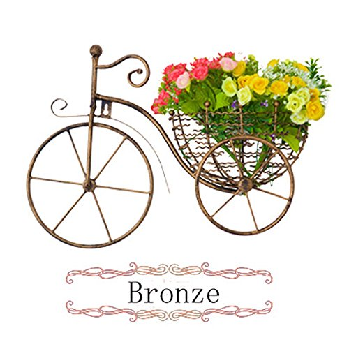 Bicycle Wall Decor Metal Wall Hanging Decals Art Sculpture 2 Flowers