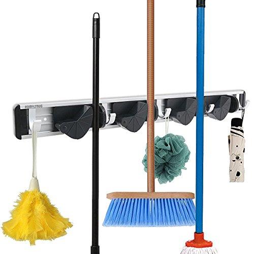 HomySnug Gerätehalter - Aluminium Wandhalter Ordnungsleiste für Besen, Mopp und Gartenwerkzeuge mit 5 Haken und 4 Schnellspannern