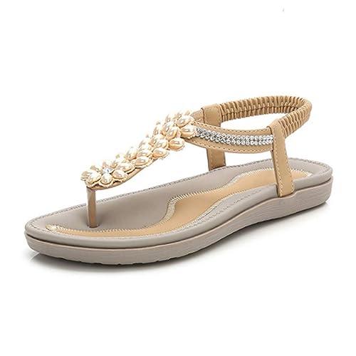 Sandalias Planas de Gladiador de Diamantes de imitación de ...