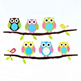 Guoainn Cartoon Children's Home Room Bedroom Decorative,Cute Owl Animal Wall Sticker