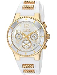 Invicta Womens BLU Quartz Gold-Tone and Silicone Casual Watch, Color:White (Model: 24187)