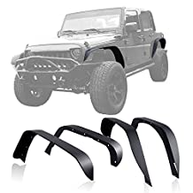 GENSSI Custom Steel Black Textured Fender Flare Set For Jeep Wrangler JK