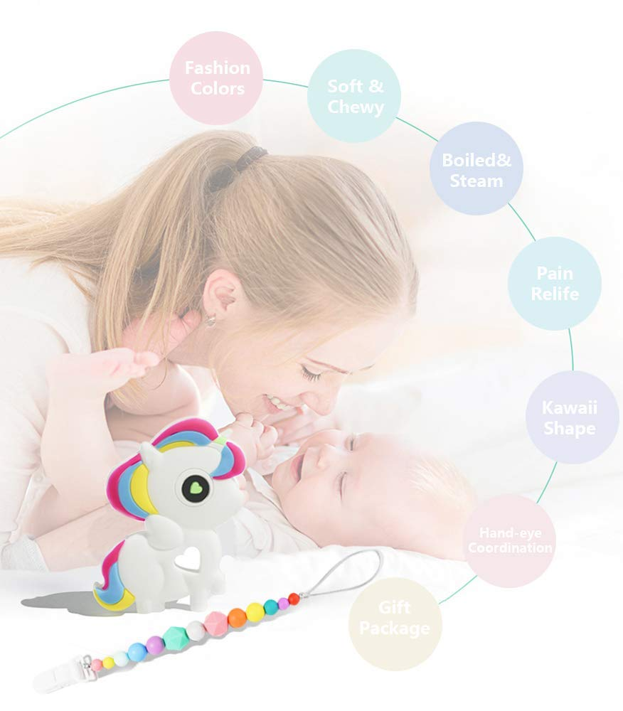 Great Shower Gift for Baby FANSIDI Baby Teething Toys Soft Bendable,Chewable and Freezer Safe Gums Massager Easy to Hold Unicorn Teether with a Rainbow Pacifier Clip BPA Free and FDA Approved