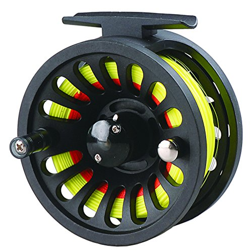 LUREMASTER Pre-loaded 5/6 WT Fly Fishing Reel with Weight Forward Floating Fly Fishing Line WF5F Backing Line Taper Leader Combo Set for River Stream Fishing - Fluo Yellow