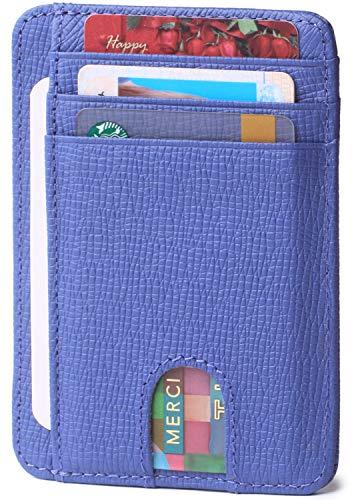 Slim Minimalist Credit Card Holder for Men Small Thin Women Front Pocket RFID Leather Wallets Light Blue