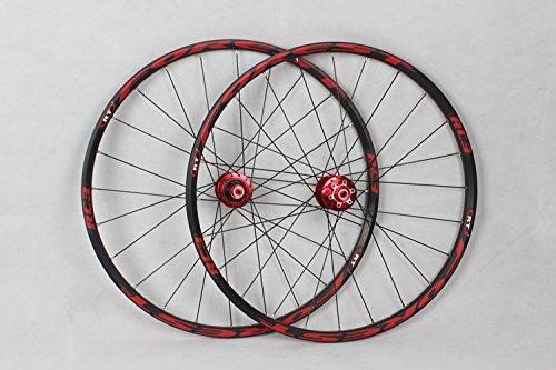 - RC3 Rim MTB Mountain Bike Wheel Ultra Light Front 2 Rear 5 Sealed Bearings Hub Disc Wheelset Wheels (red hub black rim)