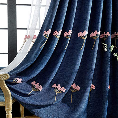 AiFish Pink Dandelion Embroidered Floral Blackout Curtains Thermal Insulated Room Darkening Curtain Panels Heavy Grommet Window Treatment Drapes Living Room 1 Panel Navy Blue W39 x L84 inch