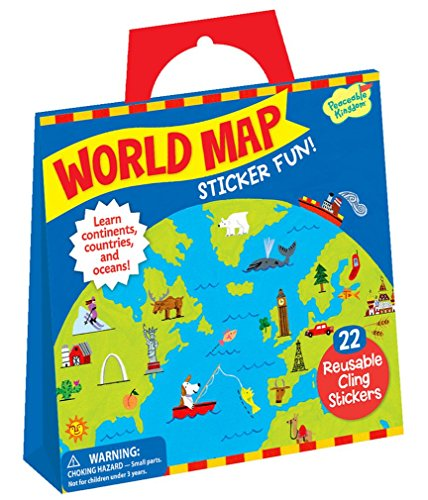Peaceable Kingdom Sticker Fun! World Map Reusable Sticker