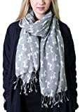 Anika Dali Bella Doxie Dachshund Dog Scarf, Animal Lover Shawl (Grey Base, White Dog)