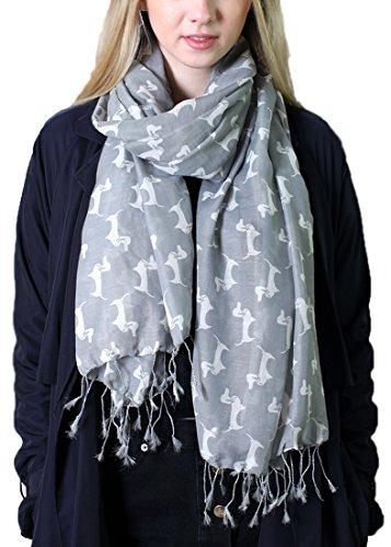 Anika Dali Bella Doxie Dachshund Dog Scarf, Animal Lover Shawl (Grey Base, White Dog)