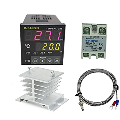 Inkbird AC 100 - 220V ITC-100VH Outlet Digital PID Thermostat Temperature Controller, DA 40A SSR, K Thermocouple, White Heat Sink