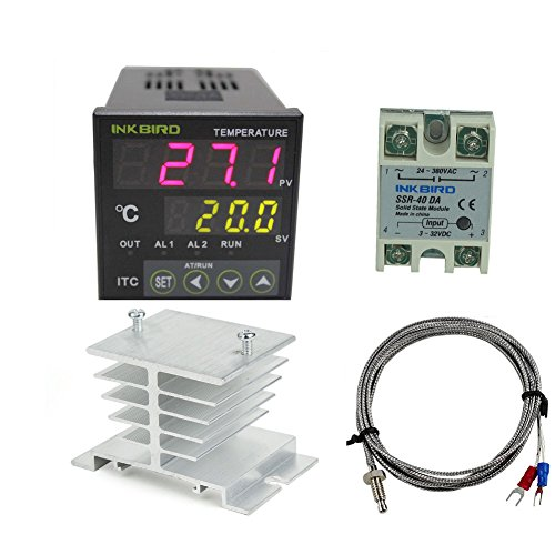 Inkbird AC 100-220V ITC-100VH Outlet Digital PID Thermostat Temperature Controller, DA 40A SSR, K Thermocouple, White Heat Sink (Temperature Controller Process)