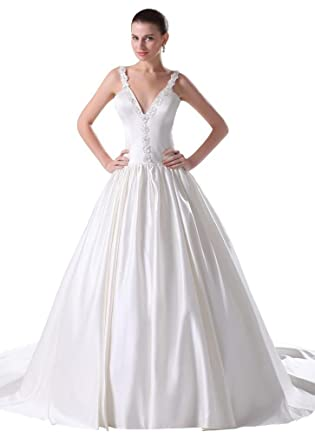 GEORGE BRIDE Simple V-neck Beaded Satin A-line Wedding Gown at ...